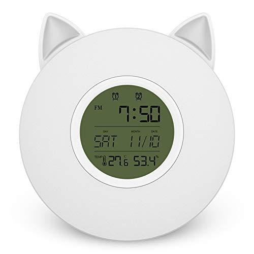 Preisvergleich Produktbild HIL Home Smart Grau LED-Bildschirm Wecklicht,  Temperatur Und Luftfeuchtigkeit Echtzeit-Anzeige FM FM Buntes Nachtlicht Katze Ohr Styling Wecker