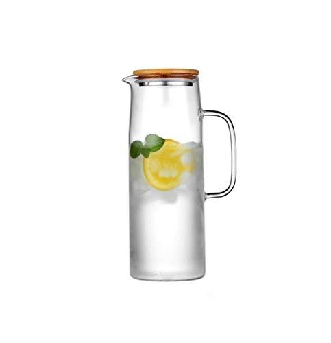 SSSSY Jarra Agua Botella de Agua fría Glass Jar Hervidor Transparente Grande apacidad Resistente al Calor Olla de Agua con asa de la Tetera lanzadores 1.0L1.2L 1.5L (Color : B1200ML)