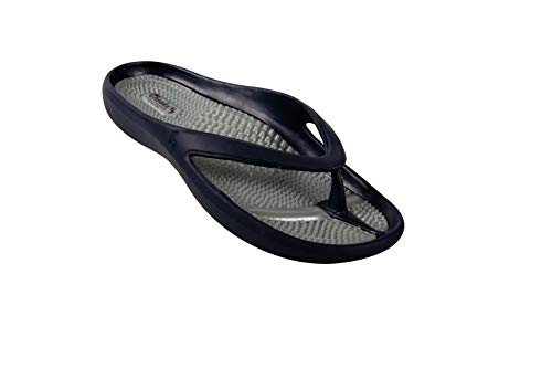 Cheeks Massage Sandals, by Tony Little, America's Personal Trainer– One Piece Technology; Made from Low Impact EVA, Waterproof, Foot Cradle Design for Secure Fit, Massaging Footbed and Gel Insoles, Navy Size 8
