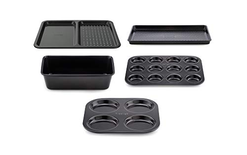 Prestige Inspire 5 Piece Bakeware Set, Non Stick Baking Set, Oven Tray and Baking Tray Set, Oven-Safe Carbon Steel Baking Tray Set