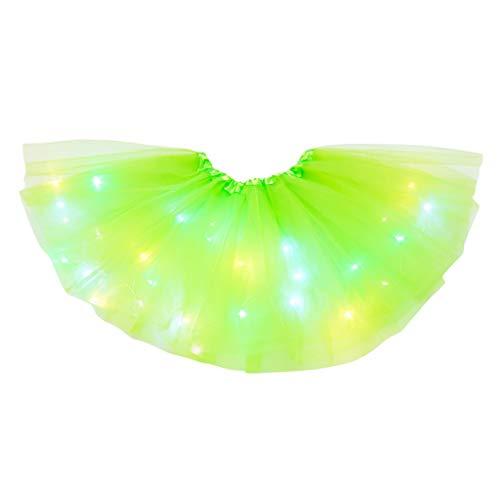 FENSIN Damen Pailletten Mesh Plissee Tüll Prinzessin Rock Tutus mit LED Licht 3 Layer Tüllrock Elastic Bund für Party Halloween Kostüme Tanzen,Waist:50-110cm (x-Mintgrün)