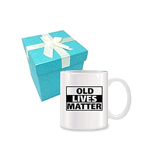 Elxf keramiska kaffemuggar födelsedag, roliga presenter, perfekt födelsedagspresent, 325 ml vit keramisk diskmaskin, en storlek