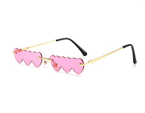 DBFISHINGREEL 2020 Kleine randlose Punk-Sonnenbrille Frauen Luxusmode Herz Einzigartige, herzförmige Sonnenbrille Candy Color Hippy Vintage Sonnenbrille - für Kostümzubehör, Party Cosplay (Orange)