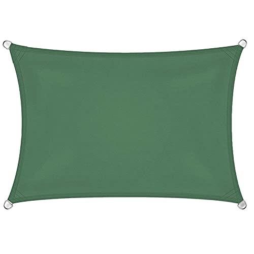 GPWDSN Sun Shade Sail Canopy Rechteckig Wasserdicht 95% Block Sun Shade Markise mit Seil Perfekt für Patio Gartenhof Hinterhof im Freien (2x3m, grün)