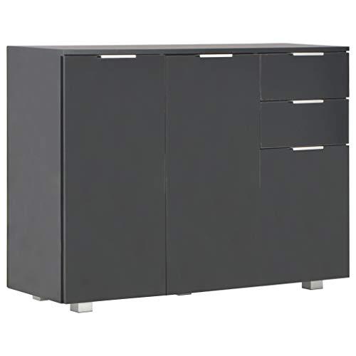 Dressoir 107x35x76 cm hoogglans zwart