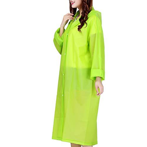 Imikeya Regenjas voor volwassenen, met capuchon, herbruikbaar, regenjas, noodregenjas, regenjas en regenbescherming voor dames, heren en buiten, groen, Taglia 1, Groen