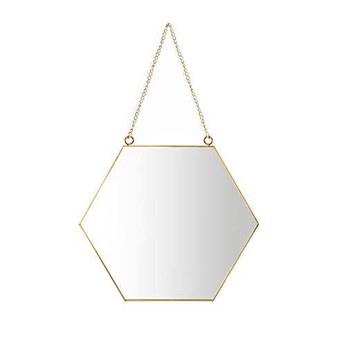 AIFUSI 21x24cm Sechseck Spiegel Wandspiegel, handgefertigter Badspiegel Facettenspiegel Vintage Dekoration, Messingende mit hängender Kette, Kleine Größe