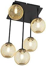 QAZQA Plafondlamp, rustiek, staal, goud/messing/zwart, rond, max. 5 x 28 cm