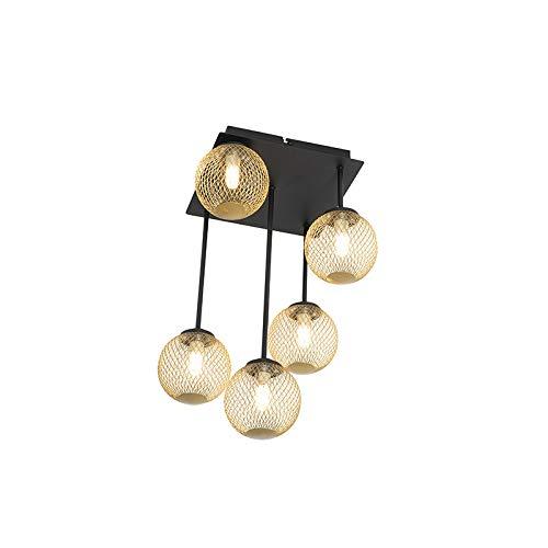 QAZQA - Landhaus | Vintage Moderne Deckenleuchte | Deckenlampe | Lampe | Leuchte schwarz mit Gold | Messingenen 5-flammig Lichtern - Athens Wire | Wohnzimmer | Schlafzimmer | Küche - Stahl Rund - LED