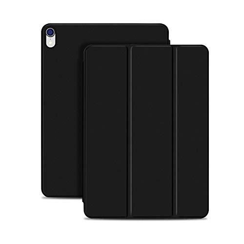 【マーサリンク】iPad Pro 11インチ 2018年モデル用 薄型 PU革 Smart Folio ケース 三つ折り スマート カバー オートスリープ機能 PUレザー 裏カバー マグネット吸着 スタンド 第2世代 アップルペンシル携帯可能 (ブラック、