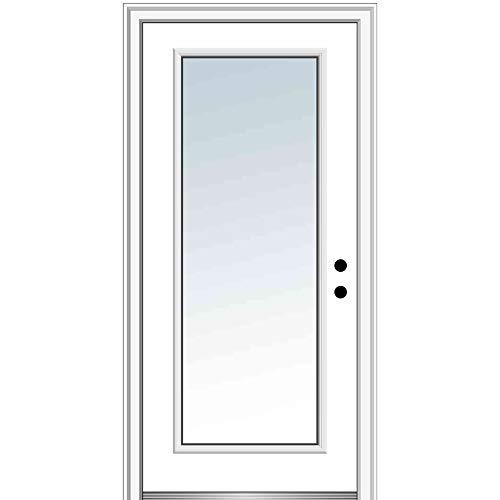 National Door Company Z000366L Fiberglass Smooth Primed, Left Hand in-Swing, Prehung Front Door, Full Lite, Clear Glass, 36