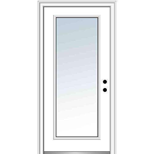 National Door Company Z000366L Fiberglass Smooth Primed, Left Hand in-Swing, Prehung Front Door, Full Lite, Clear Glass, 36' x 80'