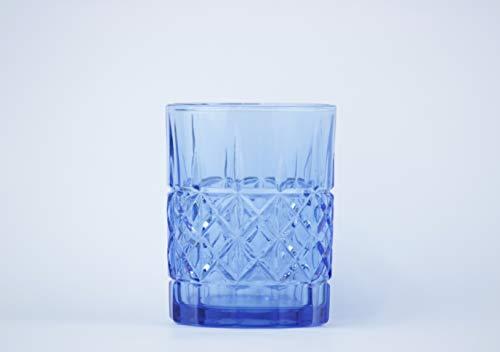 Homevibes Juego Set de 6 Vasos De Agua Y Whisky Tallado con Relieve, Colores Varios, Diseño Retro, 8x10, Cristaleria De Calidad (Azul)