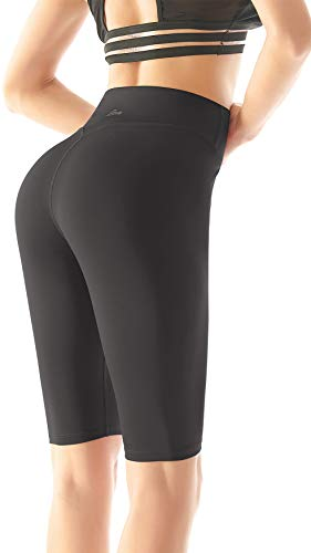 Beelu Sport Leggings Capri Tights Damen Hohe Taille 3/4 Yogahose Blickdichte Kurz Laufhos Fitness Hosen Jogginghose Short(Schwarz L)