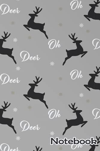 Oh Deer Christmas Pattern Notebook: - 110 Pages, In Lines, 6 x 9 Inches