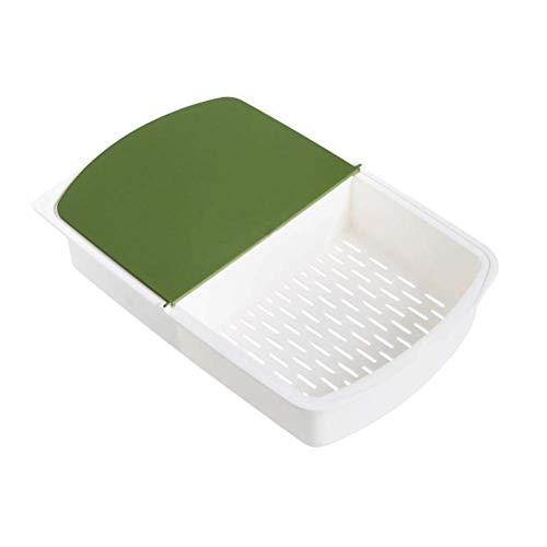 DFBGL Tabla de Cortar de Cocina 3 en 1, Bloque de Tabla de Cortar de plástico con Cesta de Drenaje, Caja de Almacenamiento de artículos Diversos, Alfombrilla de Corte, Herramientas de co