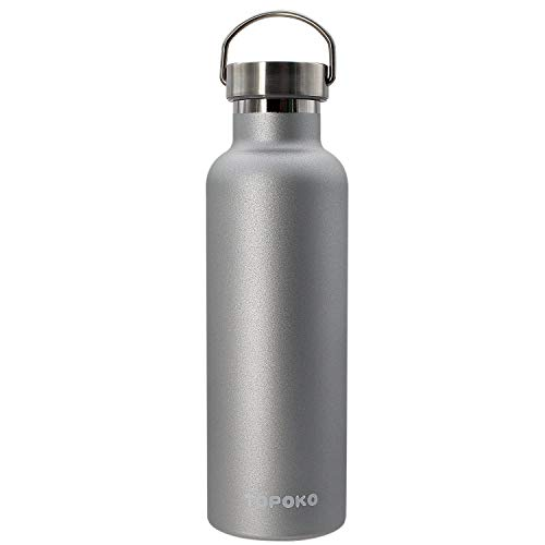 TOPOKO 25 oz Stainless Steel Vacuum Insulated Water Bottle, Keeps Drink Cold up to 24 Hours & Hot up to 12 Hours, Leak Proof and Sweat Proof. Large Capacity Sports Bottle Wide Mouth Metal Lid (Grey)