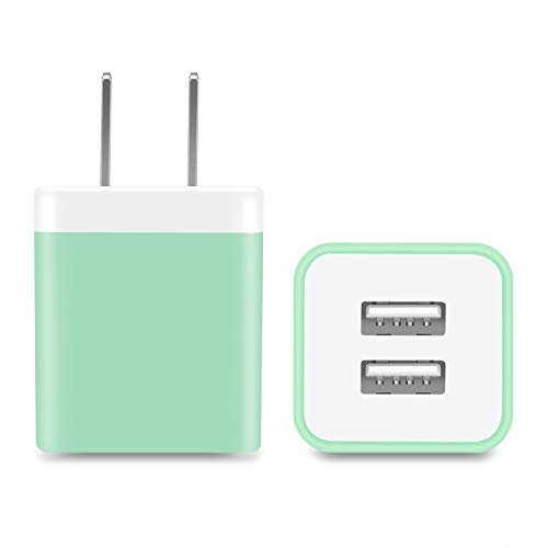 Power-7 USB Wall Charger, 2-Pack 2.1A Dual Port USB Plug Power Adapter Charging Block Charger Cube Compatible with iPhone 11/Xs/XR/X/8/7/6/Plus/5S, Samsung, LG, Moto, Android Phone (Green)