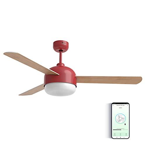 UNIVERSALBLUE Ventilador de Techo con Luz LED Silencioso | Mando a Distancia | Rojo | WiFi-Alexa-App | Estilo Retro | Motor DC | 6 Velocidades
