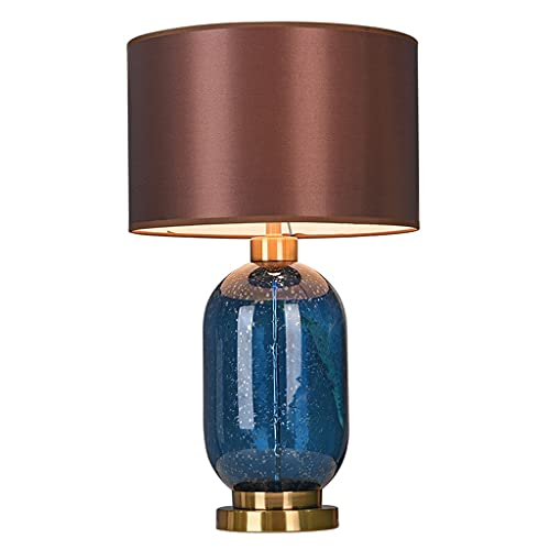 OMING Table Lamps Nordic Glass Table Lamp Bedroom Bedside Lamp Modern Minimalist Fabric Lampshade Lamp Creative Living Room Study Home Decoration Table Lamp Crystal Table Lamp