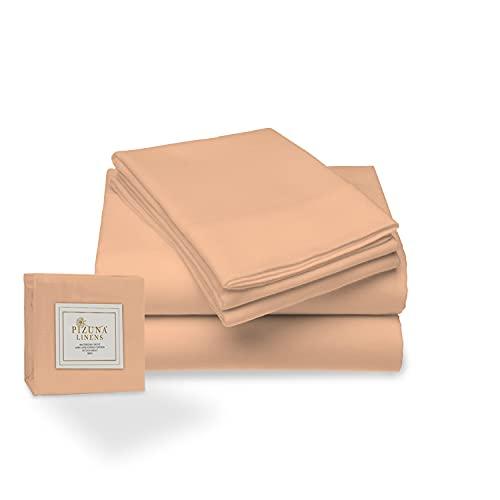 Juego de sábana de 400 conteo de Hilos, 4 Piezas de 100% algodón de Fibra Larga, Suave Saten Conjunto de Hojas, 1 sábana Adjustable 1 sábana Plana 2 Fundas de Almohada (Cuarzo melocotón - Cama 135cm)