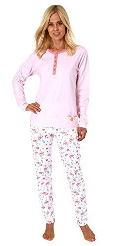 Damen Pyjama Schlafanzug lang mit Knopfleiste, Hose mit Flamingo-Motiv 191 201 90 104, Farbe:rosa, Größe2:48/50
