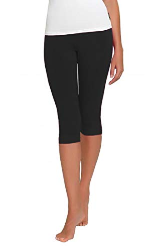 FUNGO Leggings Mujer 3/4 Pantalones de Yoga Deportivas Leggins Para Mujer F34 (44, Negro)