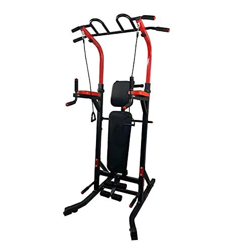 YOG&Fit-TM-002. Máquina multifuncion de musculacion. Torre multiestacion de Ejercicios con Banco Plegable y Ajustable para Gimnasio en casa y Entrenamiento Profesional