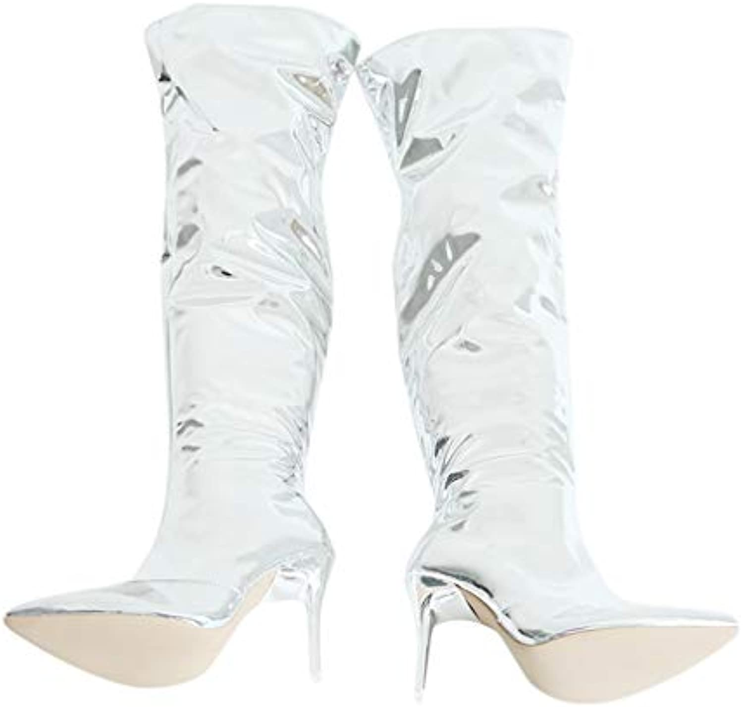 T-JULY Women Show Pointy Toe Club Party shoes Thin High Heels Over The Knee Long Thigh High Boots