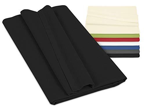 npluseins Laken ohne Gummizug - 100% Baumwolle - ca. 150 x 250 cm 701.887, schwarz
