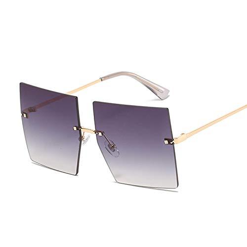 Moda Frameless Square Gafas de sol Retro Oversize Frame Sun Visor Femenino Doublegray