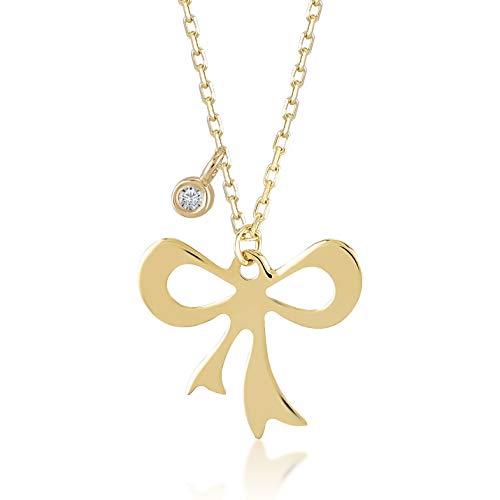 Gelin Damen Halskette 14 Karat 585 Echt Gelbgold mit Schleife Band als Anhänger mit Diamant 0.01 ct an der Kette Kettenlänge 45cm