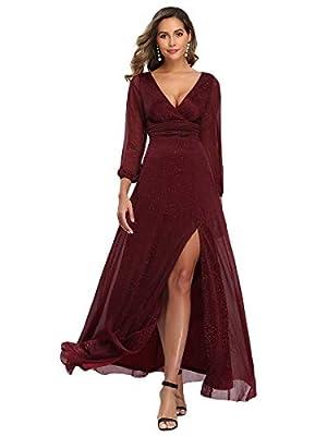 Ever-Pretty Women's V-Neck Long Sleeve High Thigh Slit Wedding Bridesmaid Dress Burgundy US6