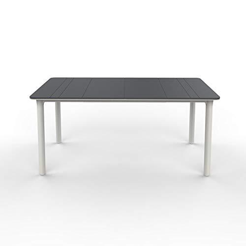 resol Mesa de jardín Exterior Rectangular Noa 160x90 - Color Tablero Gris Oscuro, Patas Blancas