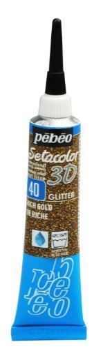 Pebeo Setacolor 3D Fabric Paint, 20ml, Glitter Rich Gold by Pebeo
