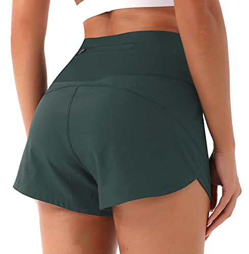 PERSIT Womens Workout Running Athletic Shorts with Pockets Yoga High Waist Shorts - Army Green - L
