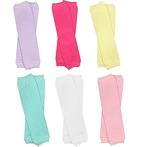 juDanzy 6 Pairs of Solid Baby, Toddler and Child Leg Warmers (Lavender, Hot Pink, Yellow, Aqua, White, Pink, One Size)