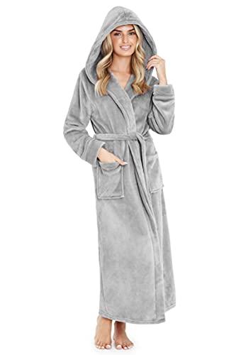 CityComfort Robe de Chambre Femme - Peignoir Femme Polaire Chaud à Capuche (Gris, L)