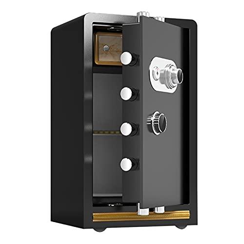 Cajas Fuertes Cajas Fuertes De Gran Capacidad, Caja Fuerte Ignífuga De Acero, Gabinete De Efectivo con Cerradura Mecánica Anti-desciframiento (Color : Black, Size : 43x36x70cm)