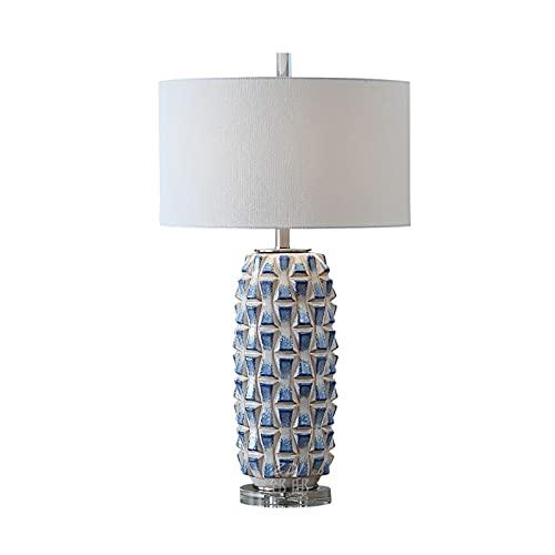 SNDJBD Lámparas de Mesa H: 75 Cm Modelo Grande Lámparas Decorativa, Lámparas De Mesa De Estilo Mediterráneo, Lámparas De Escritorio De Cerámica De Textura De Piña Azul E27 Co(Size:38 * 38 * 75cm)
