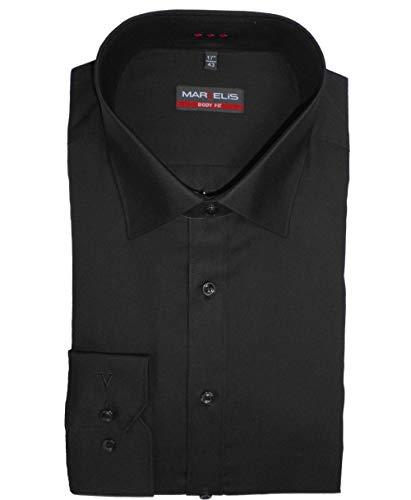 MARVELiS Hemd, Body Fit mit extra langen Arm 69cm, Schwarz, Bügelleicht (41)
