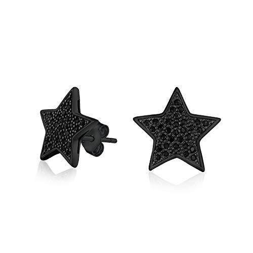 Negro Estrella Patriótico Zirconio Cúbico Micropave CZ Pendiente Boton Para Hombres Mujer Negro Chapado En Plata 925