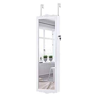 LANGRIA Wall-Mounted Jewelry Cabinet Mirrored Over-The-Door Hanging Jewelry Organizer Armoire and Accessories Storage, 2 Drawers and 3 Adjustable Heights (White)