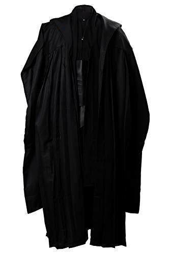 xiemushop Costume da Film per Adulti Costume Medievale di Halloween Uomo Tunica Nera con Mantello con Cappuccio Nero, S