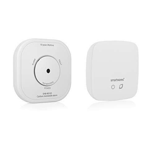 Smartwares Smart Home Pro Funk Kohlenmonoxid-Melder Set/Co Melder Set (mit Link/Hub, Basisstation, Smartphone- Benachrichtigung, Smarthomefähig) SH8-99105