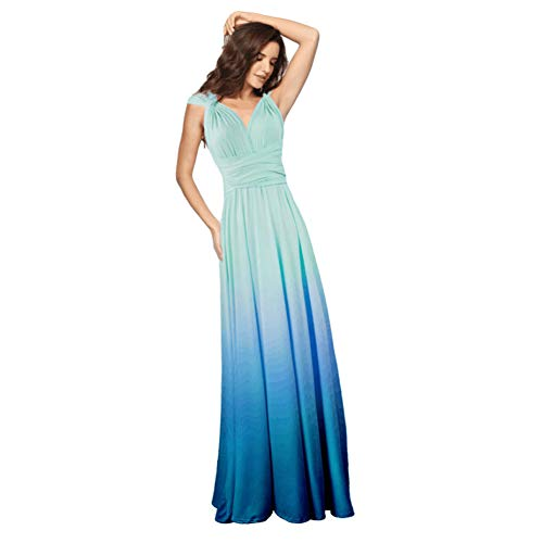 Women's Transformer Casual Gradient Color Deep V Neck Convertible Wrap Multi Way Dress Sleeveless Halter Formal Wedding Party Floor Length Cocktail Gown Long Maxi Dress Gradient Light Blue Small