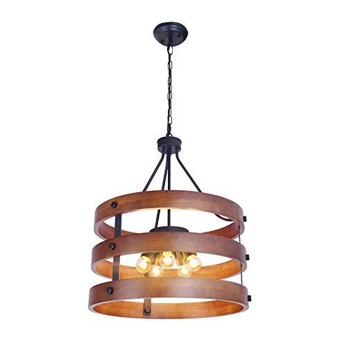 DKee Lámparas de araña retro minimalista de estilo industrial candelabros de madera, lámparas de madera, iluminación creativa 5 * E27 / E26 (40 * 85 cm)
