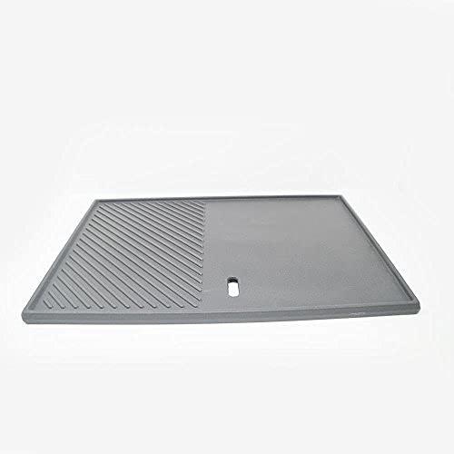 DRULINE- Grillplatte aus Gusseisen, geriffelt & glatt, Emaille-Beschichtung, beidseitig verwendbar, mit Fettablauf, Gusseisenplatte Grill, Länge 32 cm x Breite 50 cm x Höhe 2 cm