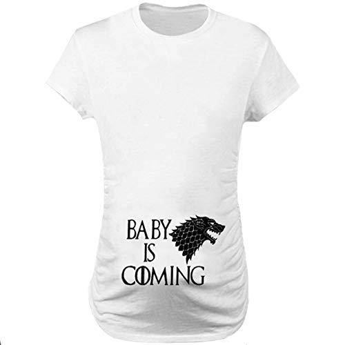 Q.KIM Mujer Camiseta de Maternidad Elasticidad Suave Embarazada Premamá T-Shirt-Baby is Coming, Blanco