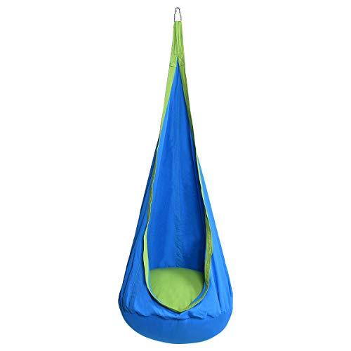GOPLUS Hängehöhle Kinder, Hängesessel mit Haken und Seile, Hängematte Outdoor, Hängesack Kinderzimmer, aus Baumwolle, bis 80kg Belastbar, Farbwahl, 160 x 70 cm (Blau)